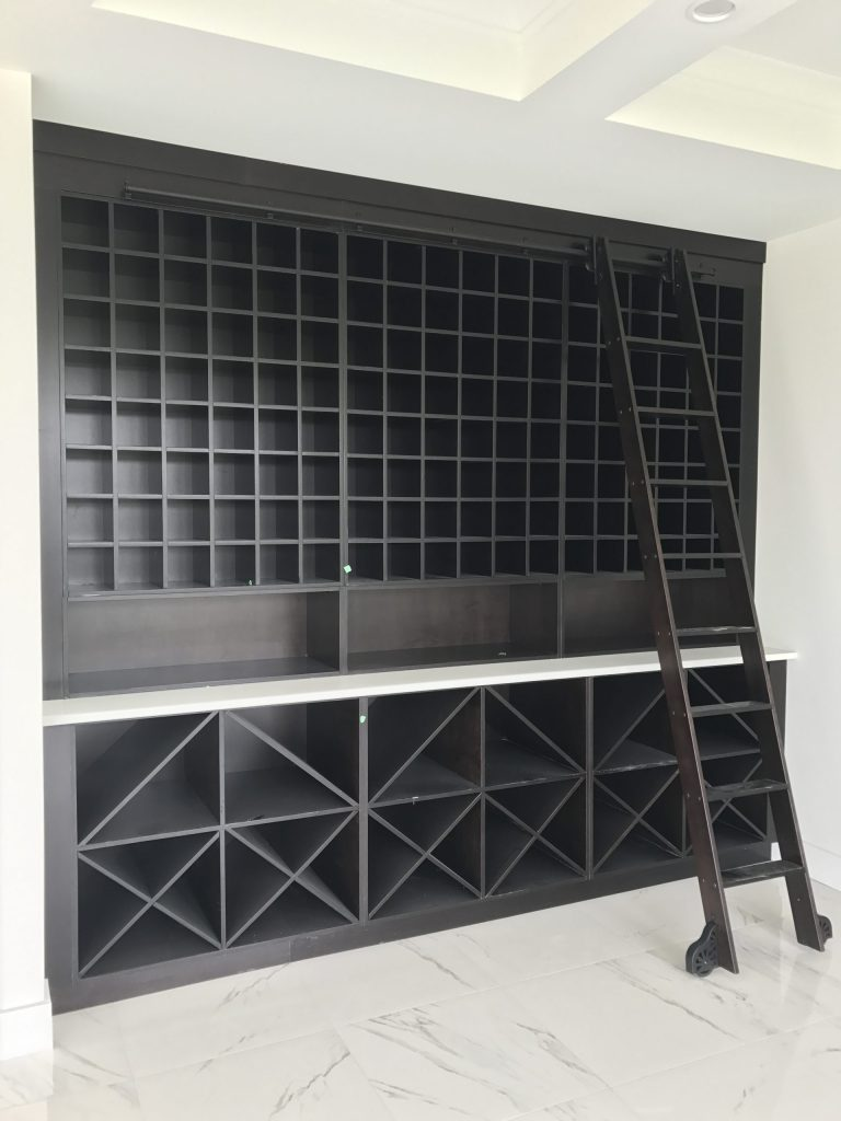 charcoal black dark wine rack custom wood