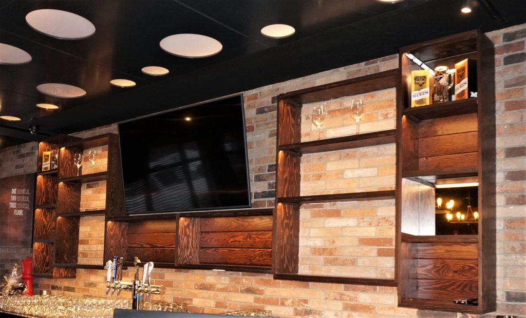 Dark brown oak cabinets restaurant Mr Mike