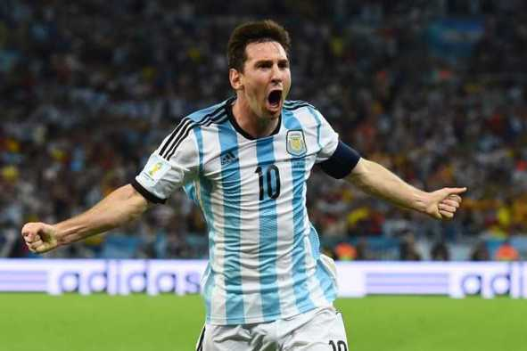 RIO DE JANEIRO, BRAZIL - JUNE 15:  Lionel Messi of Argentina celebrates after scoring his team's second goal during the 2014 FIFA World Cup Brazil Group F match between Argentina and Bosnia-Herzegovina at Maracana on June 15, 2014 in Rio de Janeiro, Brazil.  (Photo by Matthias Hangst/Getty Images)