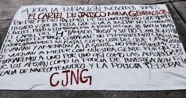 Narcomanta advierte de la llegada del Cártel de Jalisco a la Ciudad de México