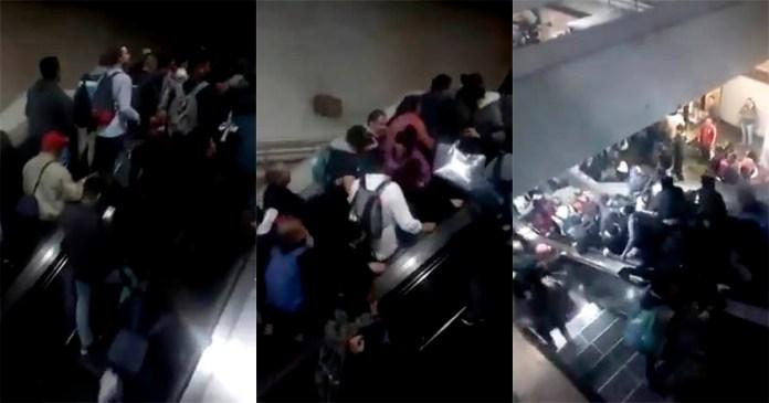 Falla en escalera eléctrica de Metro Tacubaya causa caos y pánico (Video)