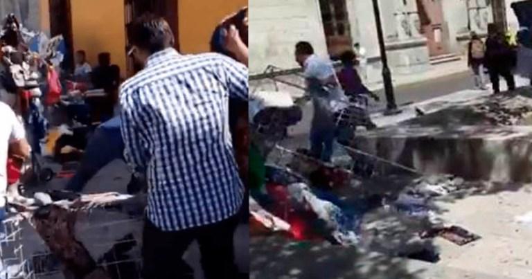 Denuncian atropello a comerciante en Oaxaca; se llevan el puesto (Video)