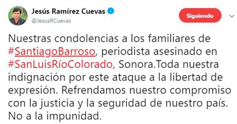 Vocero de AMLO lamenta asesinato del periodista de Santiago Barroso