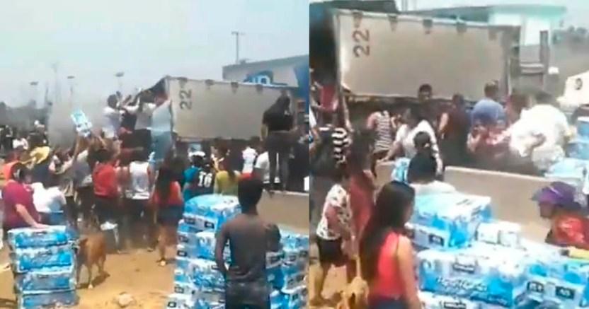 Tráiler que transportaba papel de baño se voltea en Ecatepec graban rapiña - Tráiler que transportaba papel de baño se voltea en Ecatepec; hay rapiña