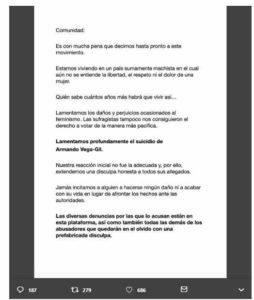 comunicado 1 me too 1 254x300 - #MeTooMusicosMexicanos anuncia que se despide del movimiento
