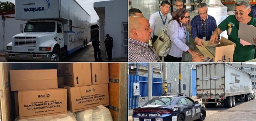 Elcciones QRoo - A 17 días de la elección, llegan 60 toneladas de material al IEQRoo