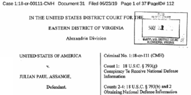assange - 17 nuevos cargos contra Assange por violar Ley de Espionaje de EU