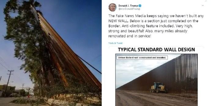 Mexicali, viento lo tira y Trump presume muro