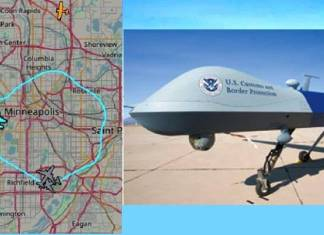 Dron Depredador sobre Minneapolis, tras protestas