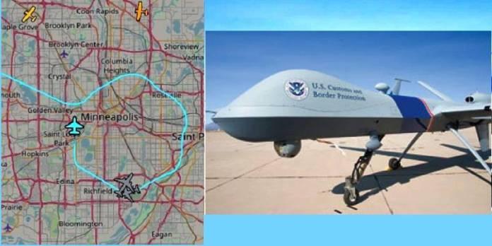 Dron Depredador sobre Minneapolis, tras protestas