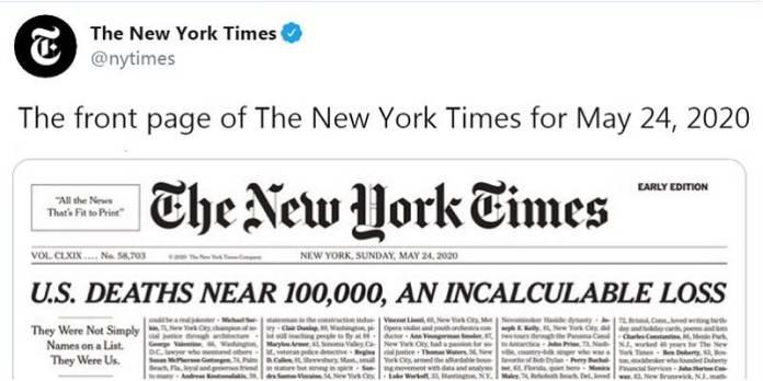 Conmociona portada de mañana del New York Times: nombra fallecidos