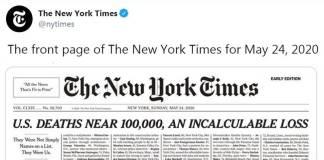 New York Times, homenaje a casi 100 mil fallecidos por coronavirus