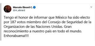 México ingresa a Consejo de Seguridad ONU