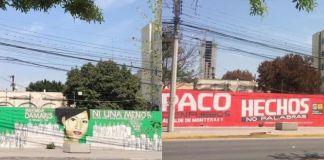 Borran mural de mujeres desaparecidas para colocar propaganda de candidato priista