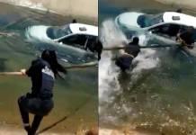 Rescatan a mujer de la tercera edad que cayó al fondo de un canal en Sonora