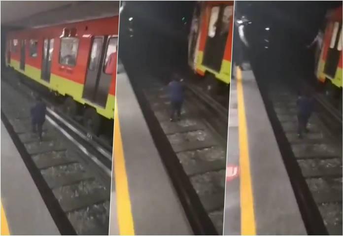 mujer ebria metro cdmx - Mujer en estado etílico se salta y camina sobre vías del Metro de CDMX
