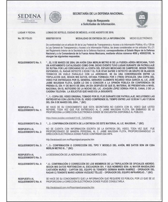 87E2EC97 A588 4E39 8991 C78E7877649D - Fuerza Aérea Mexicana registró presencia de ovnis en Mexico