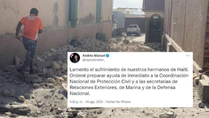 AMLO enviará ayuda a Haití tras el lamentable terremoto