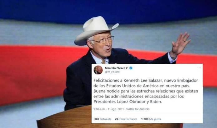 Ebrard felicita a Kenneth Lee Salazar, nuevo embajador de EU en México