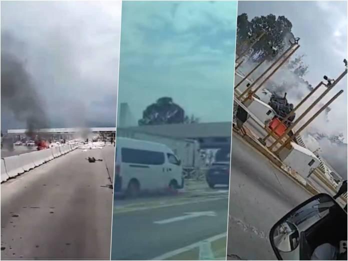 videos choque trailer - Video: Momento exacto cuando tráiler choca en caseta de la México-Puebla