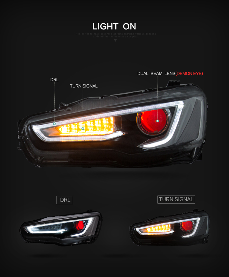 lancer evo mitsubishi head lamp headlight light