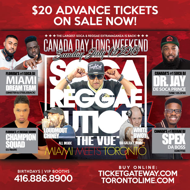 Get Your $20 Tickets for SocaReggaelution this Sunday July 1st feat