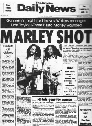 bob marley shot newspaper