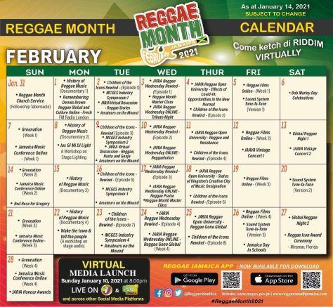 reggae month calendar 2021