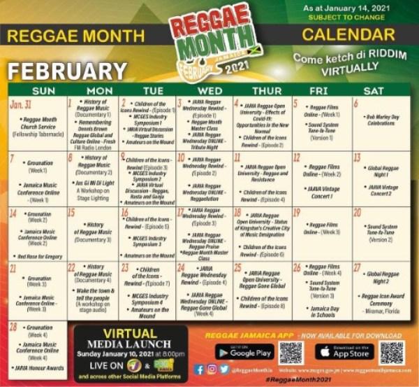 calendar Reggae Month 2021