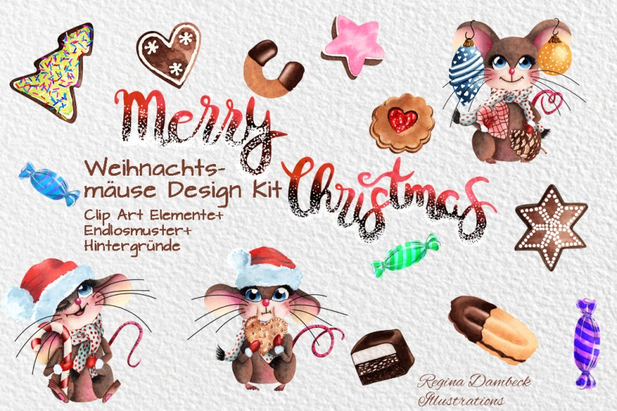 Mausige Weihnachten Clip Art Grafik Set Regina Dambeck