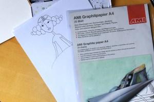 Regina Dambeck Illustrationen Vorzeichnung abpausen Graphitpapier