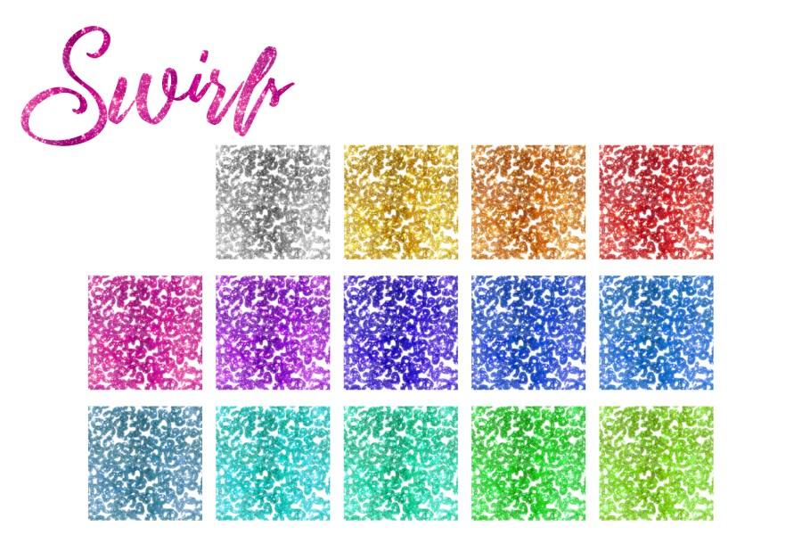 Glitter Texturen Endlosmuster 203 Elemente Set Swirls