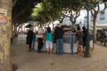 Ericeira village square with the ubiquitous coffee kiosk