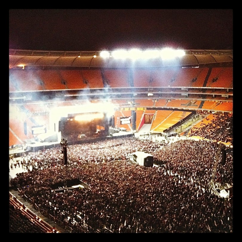 The crowds gathering for the Linkin Park concert at the FNB stadium