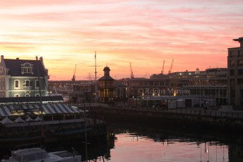 Sunrise over the V&A Waterfront in Cape Town.