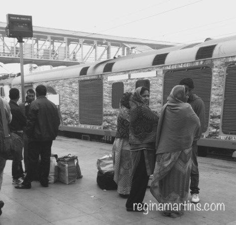 Waiting for the first train to Agra at Delhi station ©2015 Regina Martins