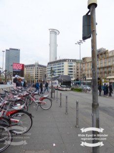 Bicycles parked in front of the Frankfurt Am Main Hauptbanhof ©2017 Regina Martins