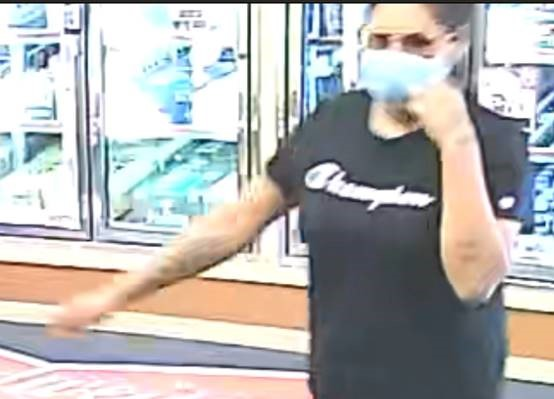 The female suspect was described as having black hair in a bun, wearing a champion t-shirt, black shorts, black flip flops, gold sunglasses and a medical COVID mask.