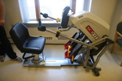 The recumbent exercise machine.