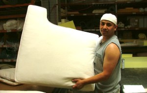 The finished cushion contains the new, flame retardant free foam. Thanks to the Safer Sofa Foam Exchange, Foam Order and five other participating furniture stores in the San Francisco Bay Area can now offer flame retardant free foam options for their customer's sofas.