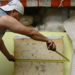 Measuring the old foam that contains hazardous flame retardant chemcicals. Customers bring in their old foam to be swapped out with new, flame retardant free foam.The operation took place at Foam Order, one of five furniture retailers in San Francisco Bay Area participating a program called Safer Sofa Foam Exhange. The program was launched by Green Chemistry Policy Institute.