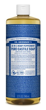 Dr. Bronner's Peppermint soap formula. A bottle covered with eccentric philosophical writings by the company's founder. But among the philosophy, you'll find ingredients and usage instructions.