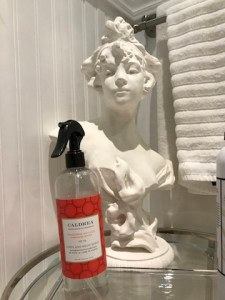 Plaster bust of young woman. On round glass table with bottle of air freshener. In bathroom, with hand towels haning in the bathroom.