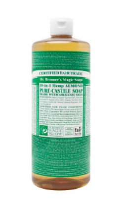 All-natural castile soap is great for routine cleaning in the kitchen and bathroom. Dr. Bronner's brand is made with USDA Organic oils, and is Certified Fair Trade.