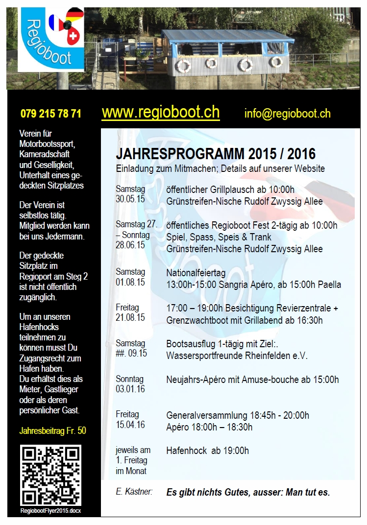 Regioboot Jahresprogramm 2015 / 16: Flyer A4 oder Handout A6; Kontakte, Regeln, Events, Logo + QR Code