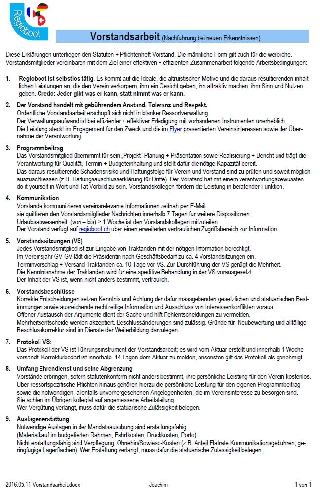 Vorstandsarbeit (1 Seite)