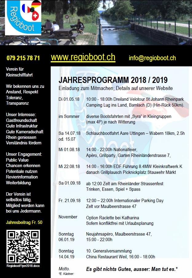 Regioboot Flyer Programm 2018/2019