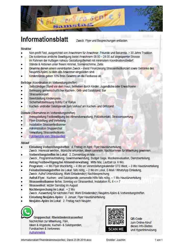 Informationsblatt Rheinländerstrassenfest