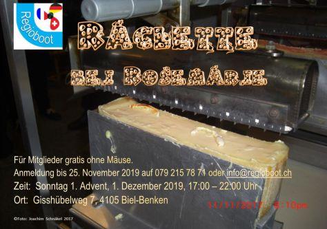 Einladung zum Regioboot Niggi Näggi Raclett 1. Advent