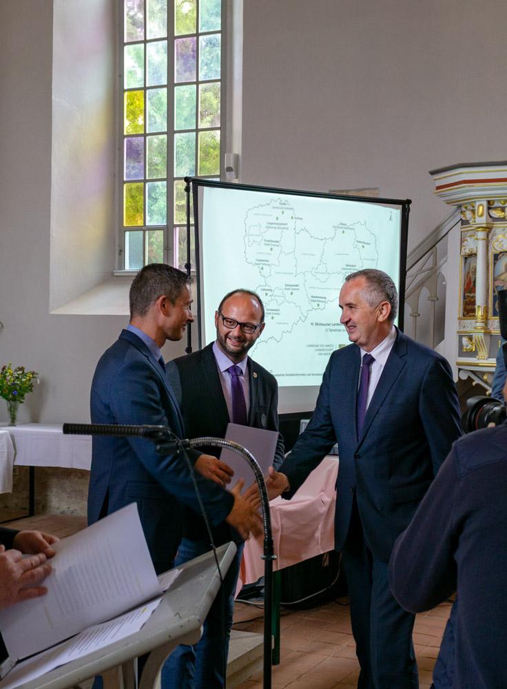Gratulation von Staastsminister Schmidt an die Gemeinde Callenberg, 2018